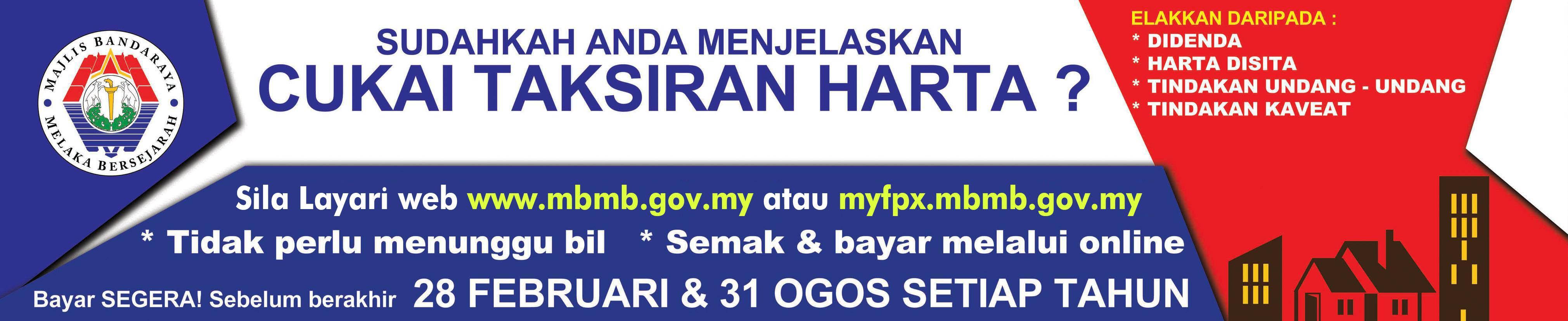 Cukai Taksiran Portal Rasmi Majlis Bandaraya Melaka Bersejarah Mbmb